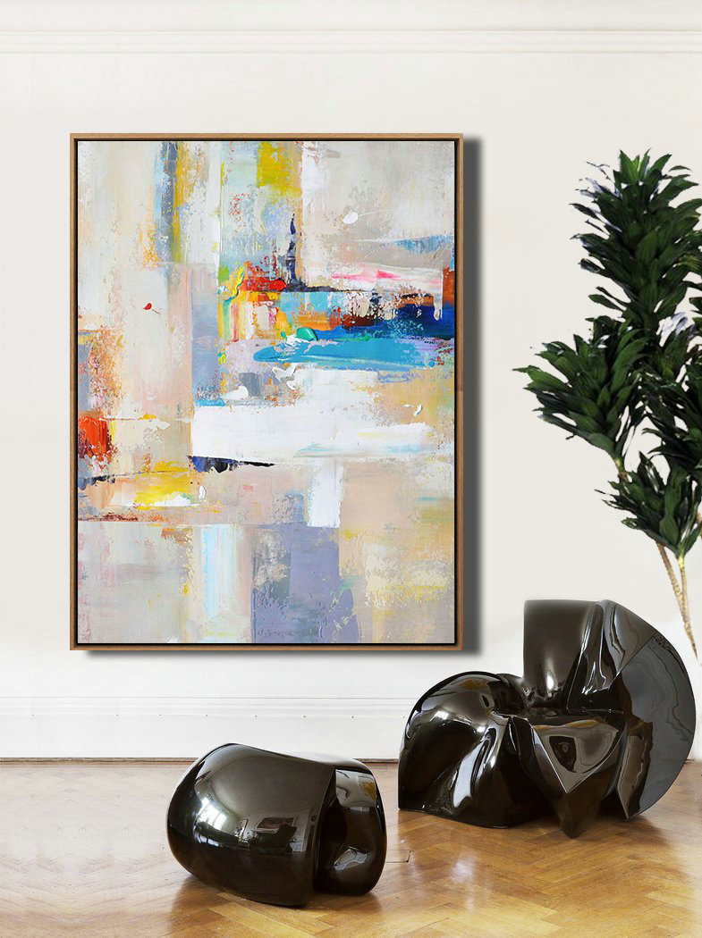 Vertical Palette Knife Contemporary Art,Hand Painted Aclylic Painting On Canvas,Beige,White,Blue,Red,Yellow,Pink
