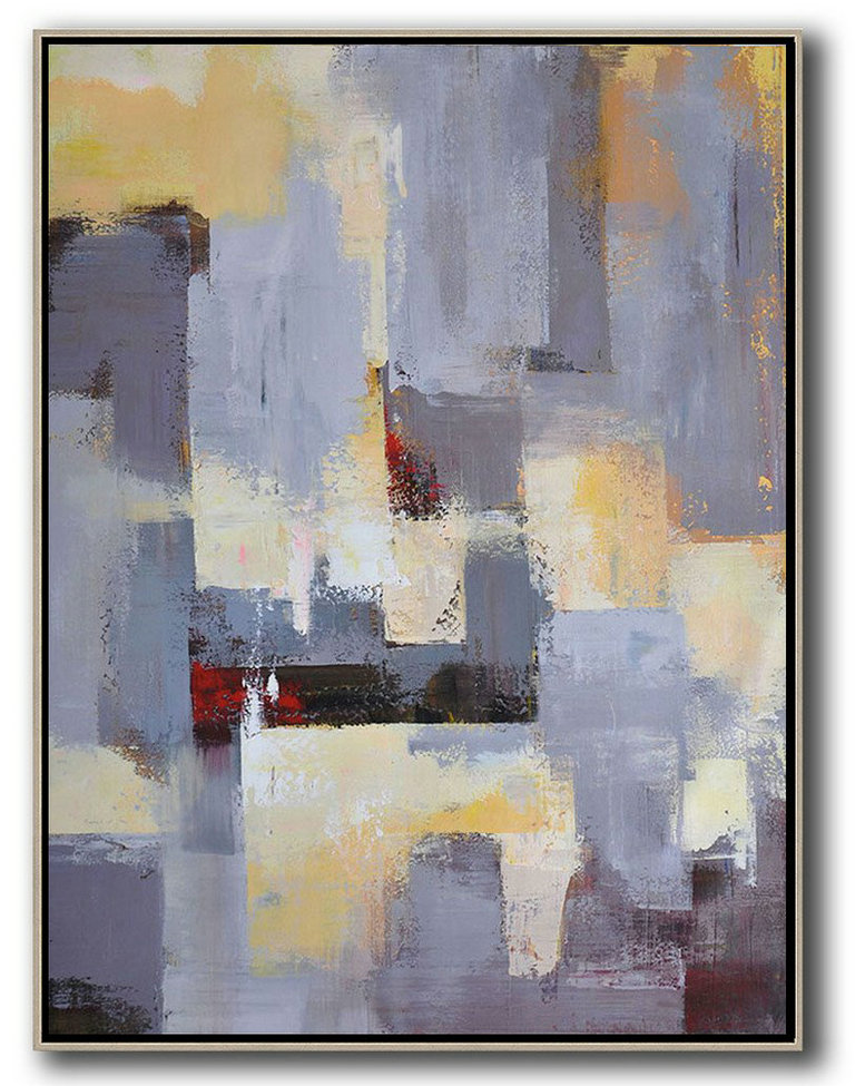 Vertical Palette Knife Contemporary Art,Large Wall Art Canvas,Grey,Yellow,Red