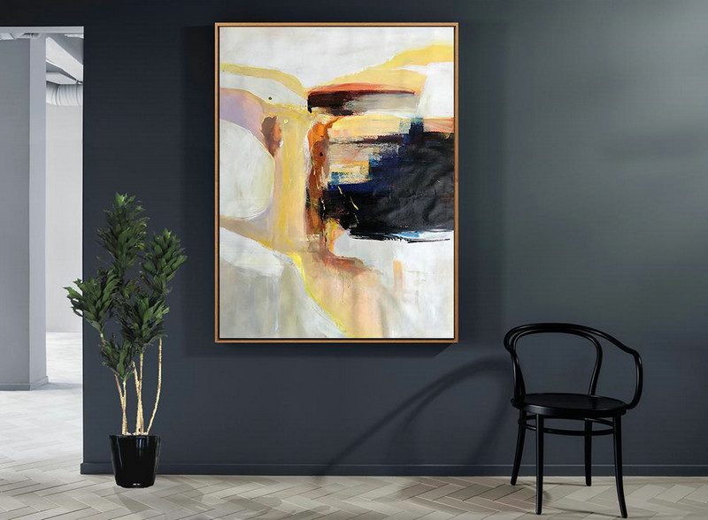 Vertical Palette Knife Contemporary Art,Large Contemporary Painting,Grey,White,Yellow,Black