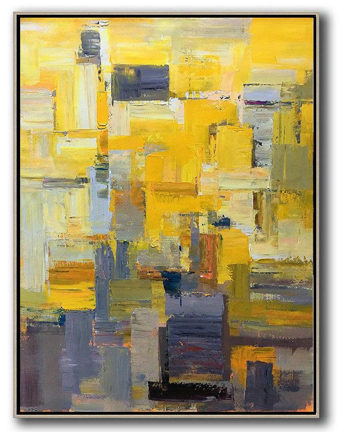 Vertical Palette Knife Contemporary Art,Large Oil Canvas Art,Yellow,Brown,Taupe,Purple,Beige