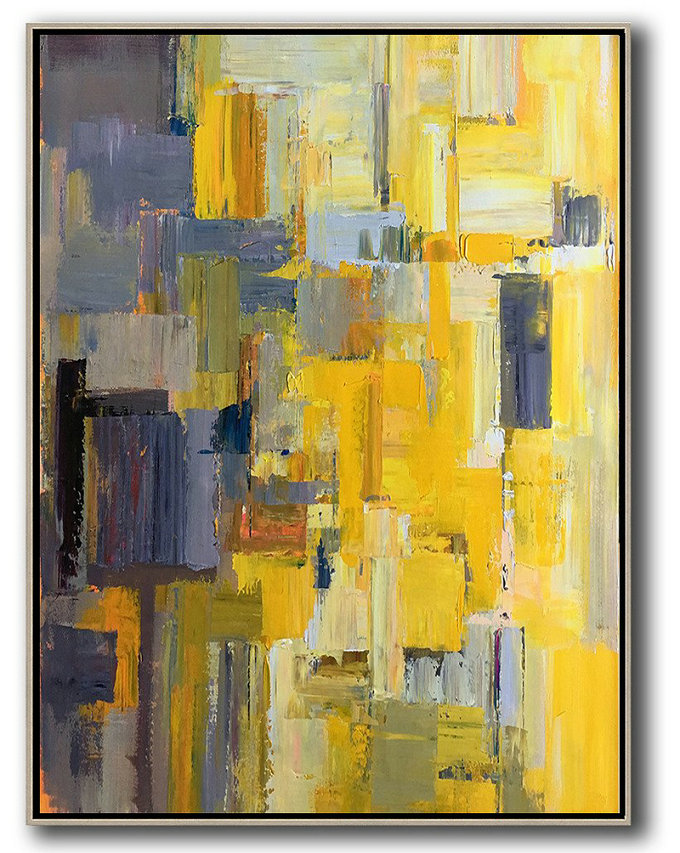 Vertical Palette Knife Contemporary Art,Large Canvas Wall Art For Sale,Yellow,Purple,Beige,Brown,Taupe