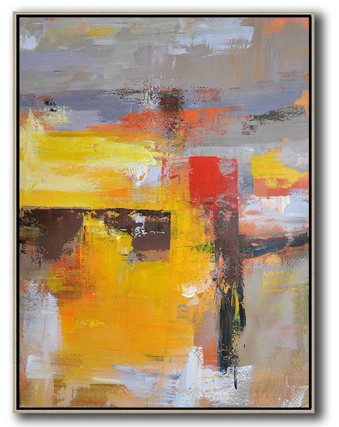 Vertical Palette Knife Contemporary Art,Large Living Room Decor,Yellow,Red,Purple,Grey