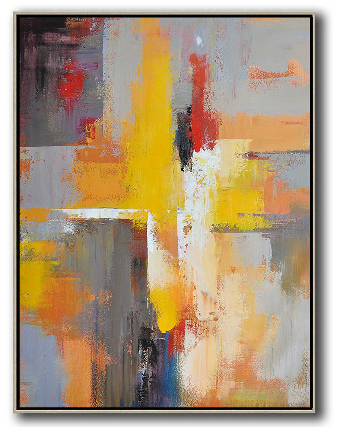 Vertical Palette Knife Contemporary Art,Contemporary Art Wall Decor,Yellow,Red,White,Violet Ash