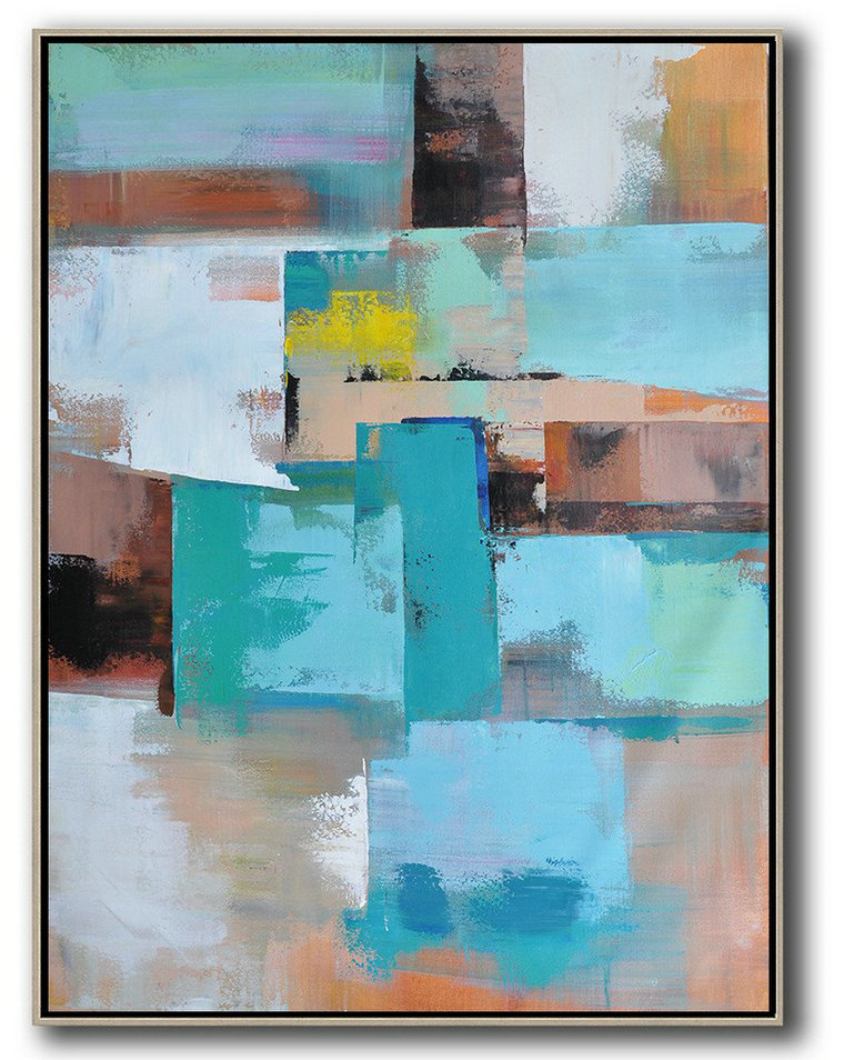 Vertical Palette Knife Contemporary Art,Canvas Wall Art Home Decor,Green,Blue,Brown,Beige,Yellow