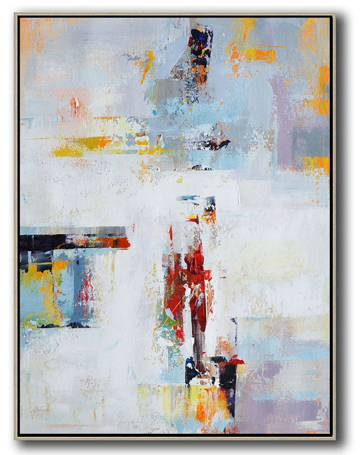 Vertical Palette Knife Contemporary Art,Acrylic Painting On Canvas,White,Grey,Red,Yellow