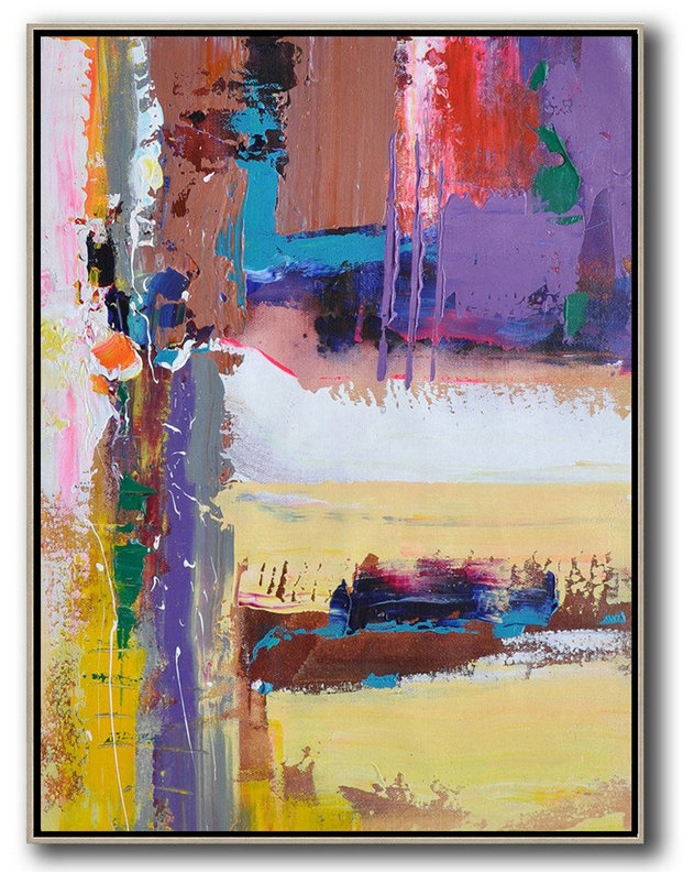 Vertical Palette Knife Contemporary Art,Modern Art Abstract Painting,Purle,Yellow,White,Brown,Red,Blue