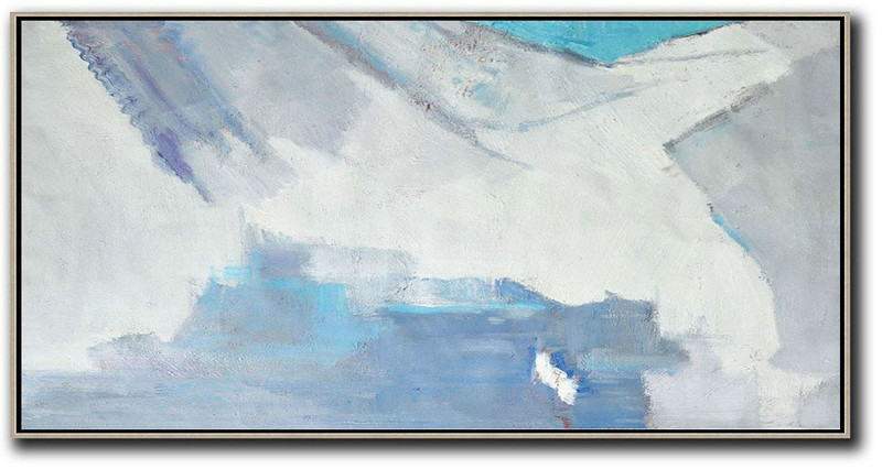 Horizontal Palette Knife Contemporary Art,Hand Paint Large Art,White,Grey,Blue