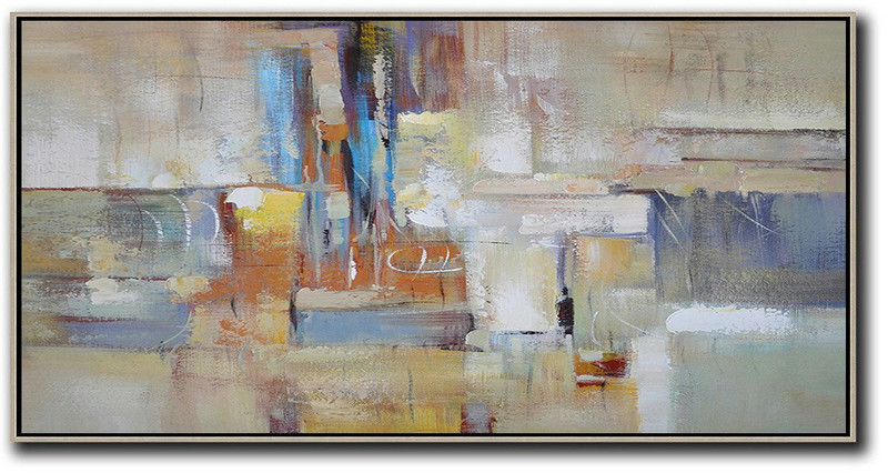 Horizontal Palette Knife Contemporary Art,Bedroom Wall Decor,Earthy Yellow,Blue,White,Brown