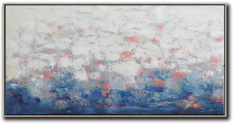 Horizontal Palette Knife Contemporary Art,Canvas Artwork For Sale,White,Grey,Red,Dark Blue