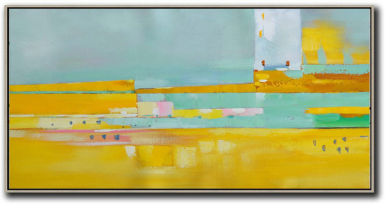 Horizontal Palette Knife Contemporary Art,Huge Abstract Canvas Art,Lake Blue,Yellow,Pink,White