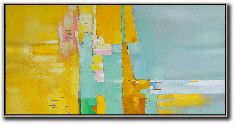Horizontal Palette Knife Contemporary Art,Hand Painted Original Art,Yellow,Light Green,White,Pink