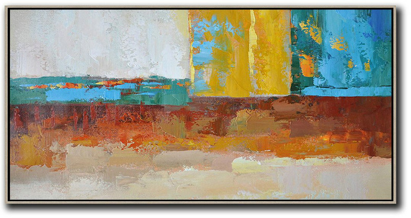 Horizontal Palette Knife Contemporary Art,Abstract Art Decor Large Canvas Painting,White,Yellow,Red,Blue,Brown