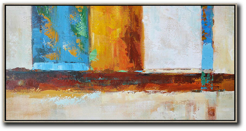 Horizontal Palette Knife Contemporary Art,Abstract Art On Canvas, Modern Art,Gret,Blue,Yellow,Orange,Brown