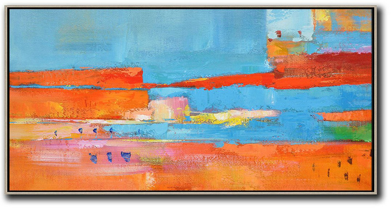 Horizontal Palette Knife Contemporary Art,Acrylic Painting Wall Art,Orange,Sky Blue,,Red,Yellow