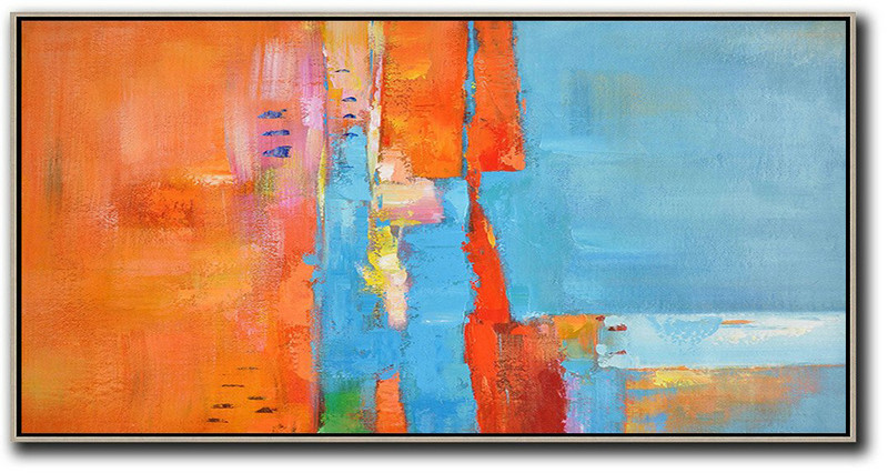 Horizontal Palette Knife Contemporary Art,Hand Made Original Art,Orange,Sky Blue,White,Red