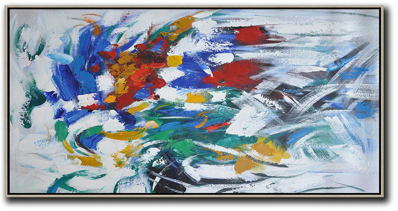 Horizontal Palette Knife Contemporary Art,Hand-Painted Canvas Art,White,Yellow,Red,Grey,Green
