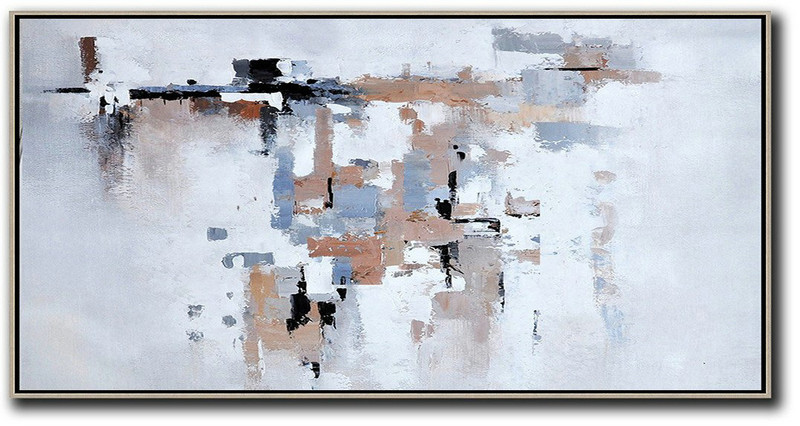 Horizontal Palette Knife Contemporary Art,Hand Painted Aclylic Painting On Canvas,White,Grey,Pink,Black,Blue