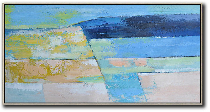 Horizontal Palette Knife Contemporary Art,Original Art Acrylic Painting,Dark Blue,Ske Blue,Yellow,Pink