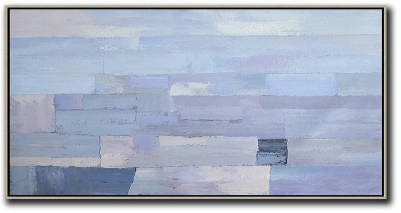 Horizontal Palette Knife Contemporary Art,Acrylic Painting On Canvas,Purple,Grey,White