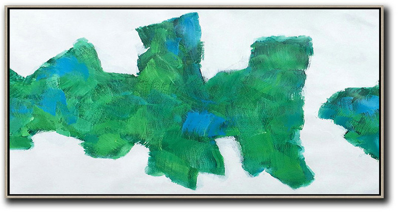Horizontal Palette Knife Contemporary Art,Family Wall Decor,White,Green,Blue