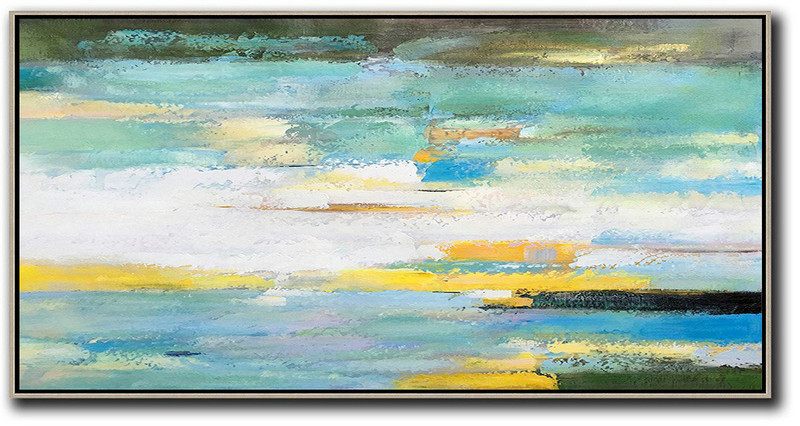 Horizontal Palette Knife Contemporary Art,Huge Abstract Canvas Art,White,Yellow,Blue,Light Green,Black