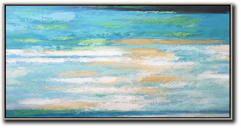 Horizontal Palette Knife Contemporary Art,Acrylic Painting Large Wall Art,Lake Blue,White,Yellow