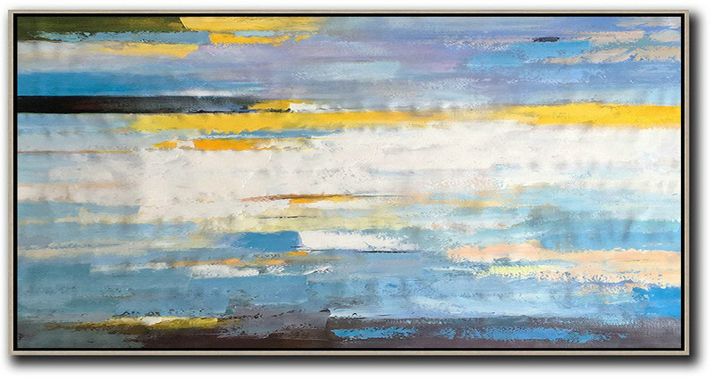 Horizontal Palette Knife Contemporary Art,Big Canvas Painting,White,Yellow,Blue,Black