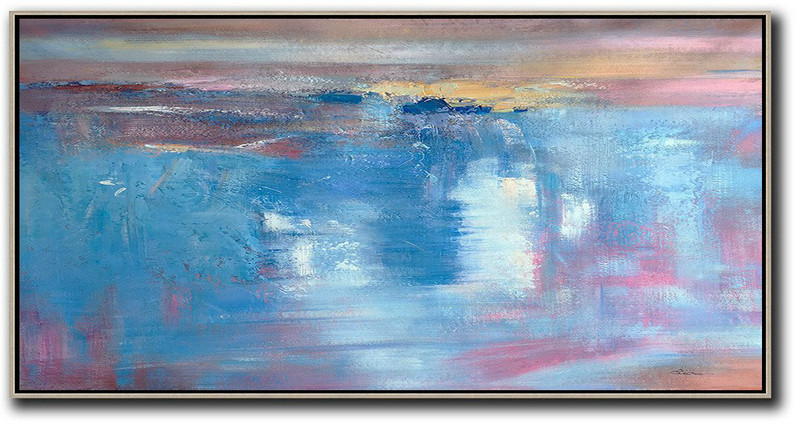 Horizontal Palette Knife Contemporary Art,Oversized Custom Canvas Art,Pink,Sky Blue,Blue,Grey,Brown