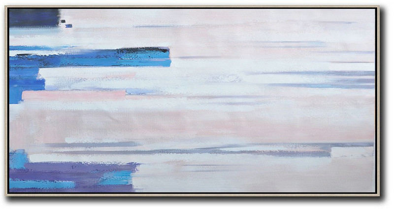 Horizontal Palette Knife Contemporary Art,Extra Large Paintings,Pink,White,Blue, Purple