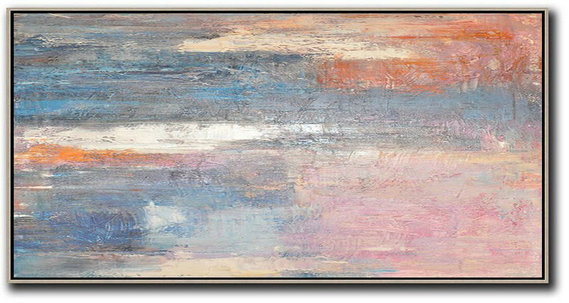 Horizontal Palette Knife Contemporary Art,Large Oil Canvas Art,Pink,Blue,Grey,Earthy Yellow