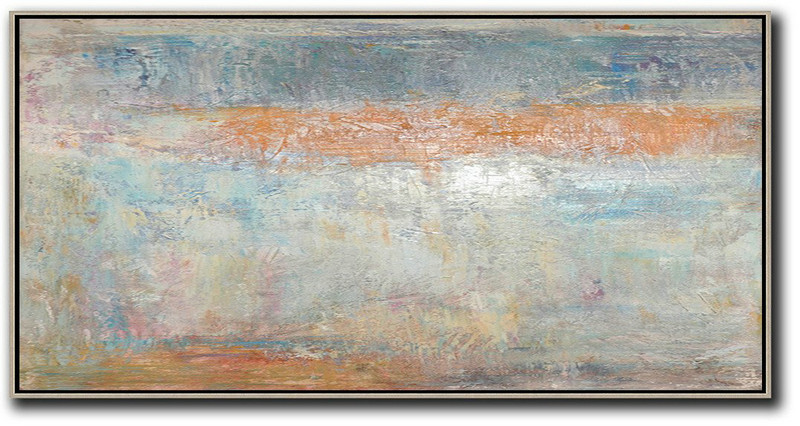 Horizontal Palette Knife Contemporary Art,Large Canvas Wall Art For Sale,Orange,Blue,Grey,White