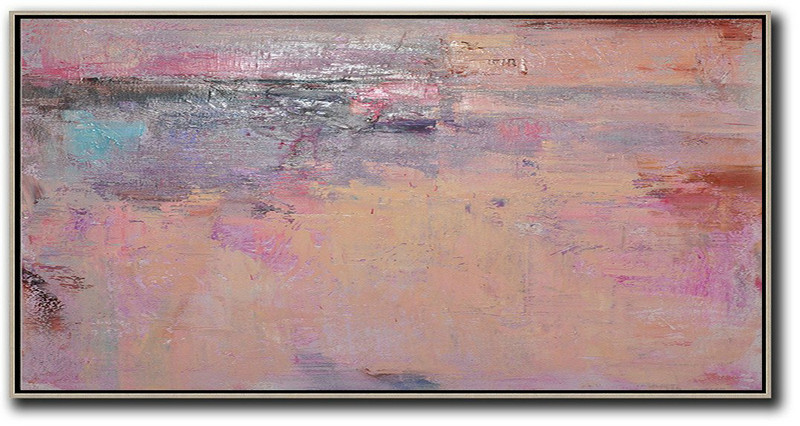 Horizontal Palette Knife Contemporary Art,Modern Paintings On Canvas,Light Yellow,Purple,Pink,Brown