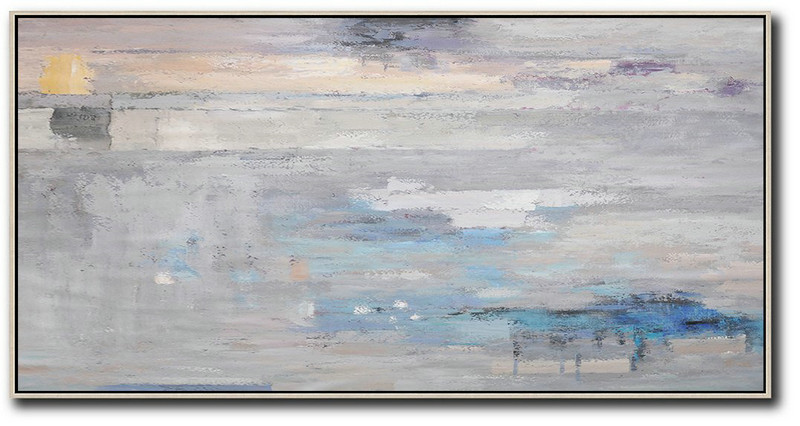 Horizontal Palette Knife Contemporary Art,Giant Wall Decor,Grey,Blue,White