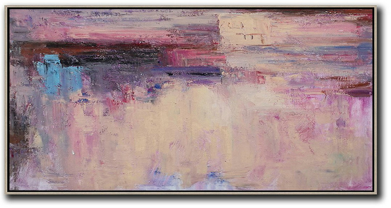 Horizontal Palette Knife Contemporary Art,Extra Large Artwork,Light Yellow,Purple,Pink,Brown