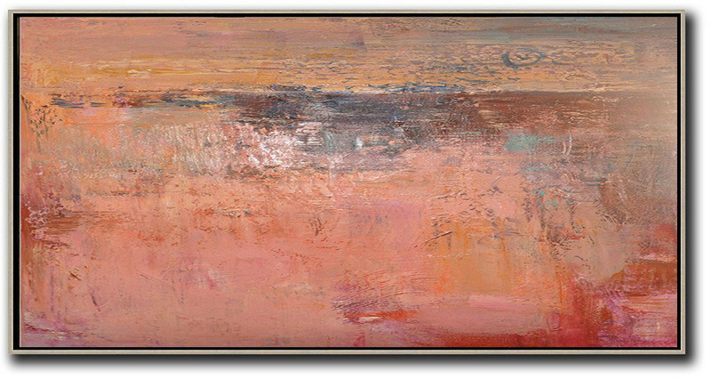 Horizontal Palette Knife Contemporary Art,Large Wall Canvas,Pink,Earthy Yellow,Brown,Red