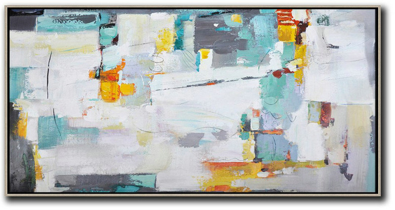 Horizontal Palette Knife Contemporary Art,Wall Art Painting,White,Grey,Yellow