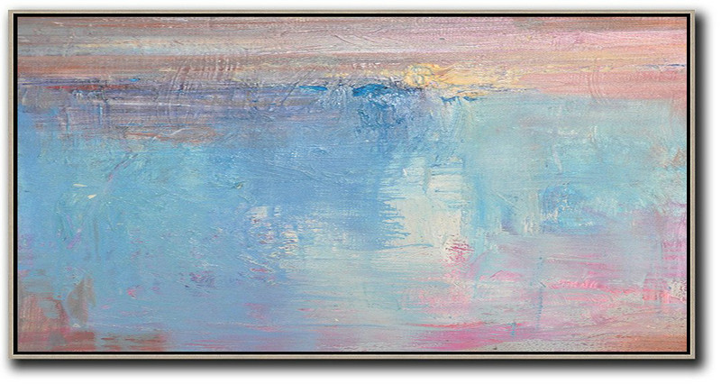 Horizontal Palette Knife Contemporary Art,Large Paintings For Living Room,Pink,Sky Blue,Purple