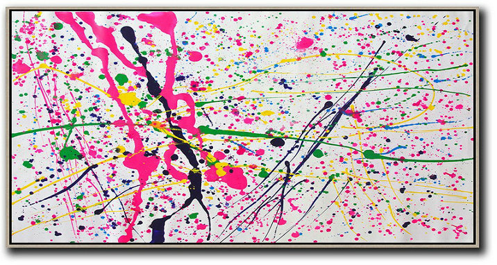 Horizontal Palette Knife Contemporary Art,Large Contemporary Painting,White,Red,Yellow,Green
