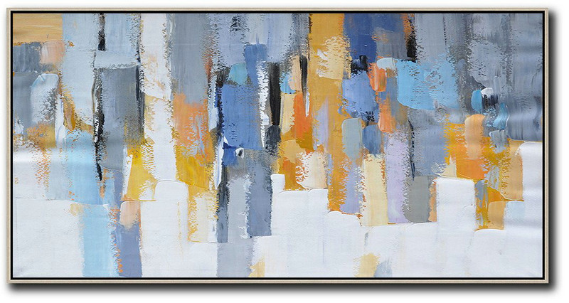 Horizontal Palette Knife Contemporary Art,Giant Canvas Wall Art,White,Grey,Orange,Yellow,Blue