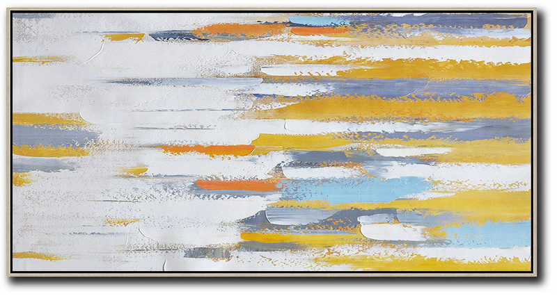 Horizontal Palette Knife Contemporary Art,Living Room Canvas Art,White,Yellow,Orange,Blue