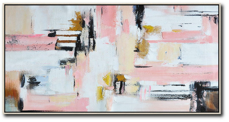 Horizontal Palette Knife Contemporary Art,Acrylic Painting Large Wall Art,White,Pink,Light Yellow