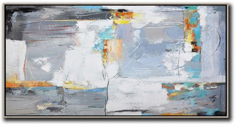 Horizontal Palette Knife Contemporary Art,Lounge Room Decor,White,Grey,Yellow
