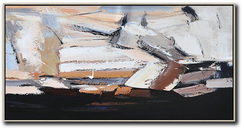 Horizontal Palette Knife Contemporary Art,Personalized Canvas Art,White,Grey,Black,Brown