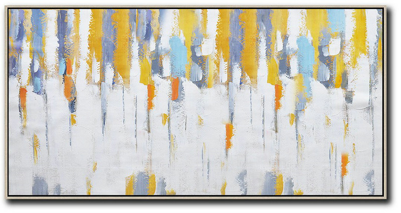 Horizontal Palette Knife Contemporary Art,Canvas Artwork For Living Room,White,Grey,Yellow