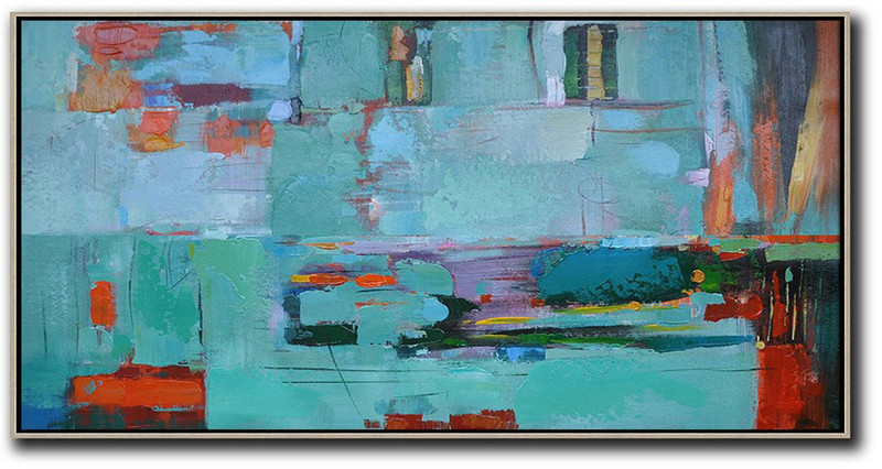 Horizontal Palette Knife Contemporary Art,Colorful Wall Art,Lake Blue,Red,Purple