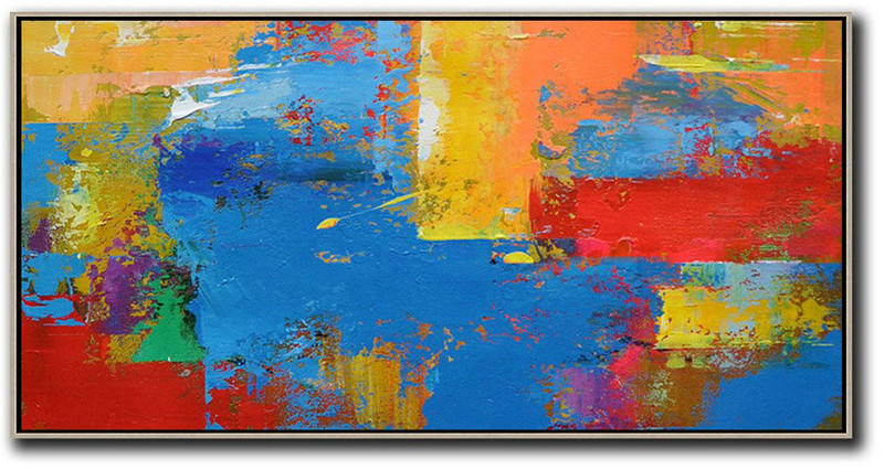 Horizontal Palette Knife Contemporary Art Panoramic Canvas Painting,Artwork For Sale,Blue,Yellow,Orange,Red