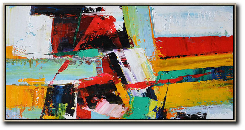 Horizontal Palette Knife Contemporary Art Panoramic Canvas Painting,Art Work,White,Yellow,Red,Black