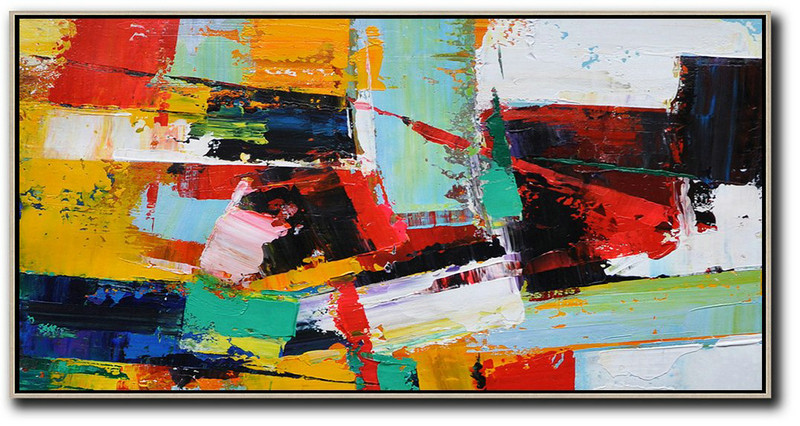 Horizontal Palette Knife Contemporary Art Panoramic Canvas Painting,Modern Art,White,Yellow,Red,Black