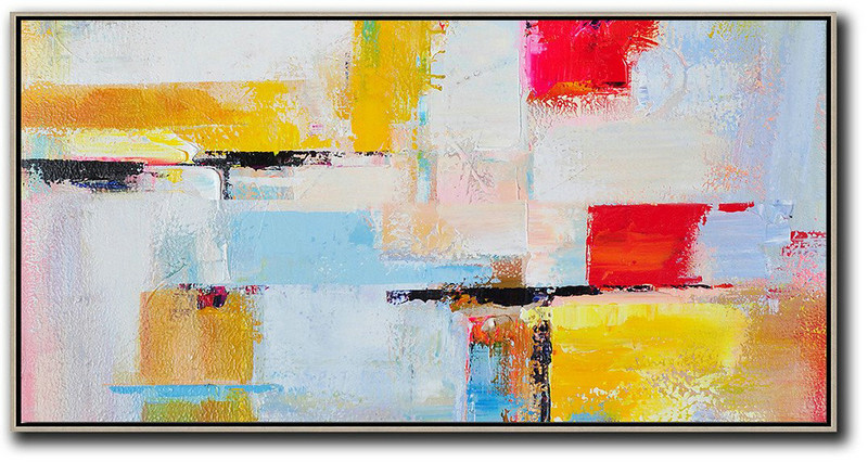 Horizontal Palette Knife Contemporary Art Panoramic Canvas Painting,Contemporary Art Acrylic Painting,White,Blue,Yellow,Red