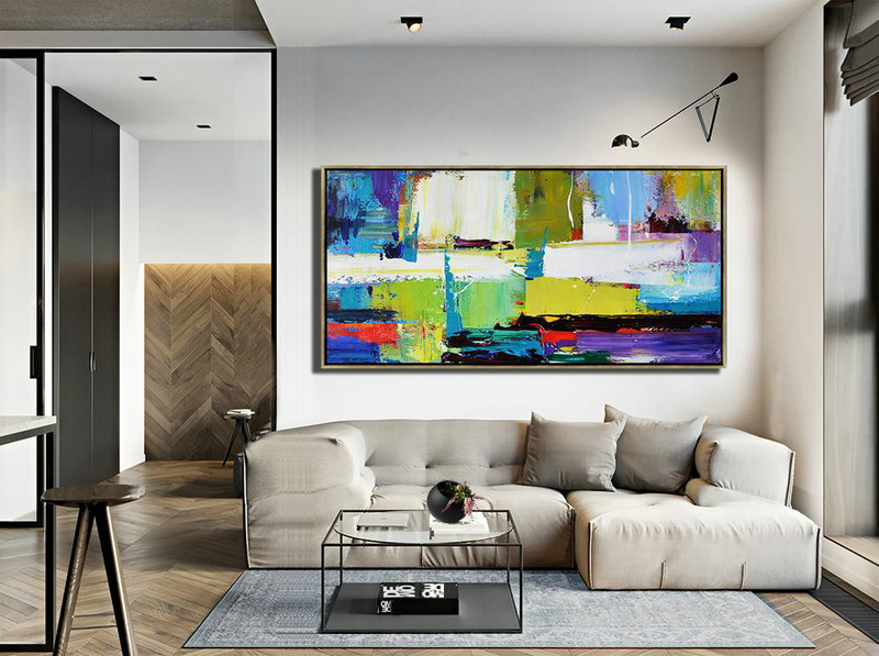 Horizontal Palette Knife Contemporary Art Canvas Painting,Abstract Oil Painting,Light Green,Purple,Grey,Yellow